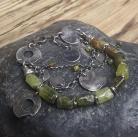 Bransoletki bransoletka srebrna,bransoletka,granat zielony