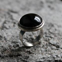 pierścionek srebro onyks - Pierścionki - Biżuteria