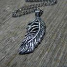 Naszyjniki srebrny,piorko,boho,elegancki