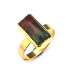 turmalin,złoty,złoto,różowy,zielony,blask,arbuzowy - Pierścionki - Biżuteria