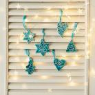 Ceramika i szkło zawieszki na choinkę,ozdoby świąteczne,turkusowe