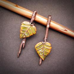 kolczyki gałązki,listki brzozy - Kolczyki - Biżuteria