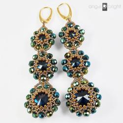 Kolczyki Szmaragdowe długie Swarovski pozłcane - Kolczyki - Biżuteria