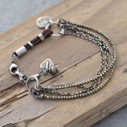 surowa,srebrna,z kamieniem naturalnym - Bransoletki - Biżuteria