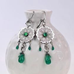 kolczyki,mandala,zielony,krople,długie - Kolczyki - Biżuteria
