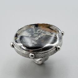 srebrny pierścionek z jaspisem - Pierścionki - Biżuteria
