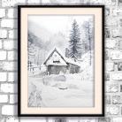 Obrazy akwarela,góry,krajobraz,chatka,zima