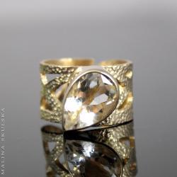ażurowy,pozłacany,kwarc,młotkowany,otwarty - Pierścionki - Biżuteria