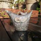 Ceramika i szkło ptak,ptaszek,raku,kropki,złoto,ceramika