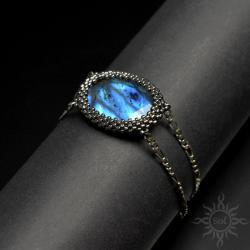 elegancka,kobieca,labradoryt,na wieczór,niebieska - Bransoletki - Biżuteria