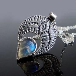 Kamień księżycowy,kolczyki,srebro,Unikat - Naszyjniki - Biżuteria