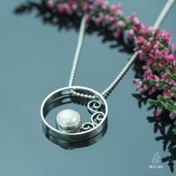 perła,koło,romantyczny,stylkowy - Wisiory - Biżuteria