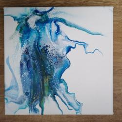 pouring,abstrakcja,nowoczesny,niebieski,akryl - Obrazy - Wyposażenie wnętrz