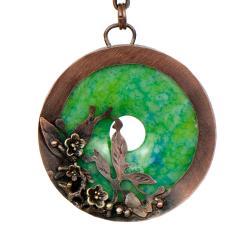 Naszyjnik artystyczny,z miedzi z jaspisem - Naszyjniki - Biżuteria
