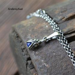 wisior srebrny,lapis lazuli,biżuteria retro - Naszyjniki - Biżuteria
