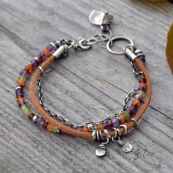 z kamieni,jesienna,kolorowa, - Bransoletki - Biżuteria
