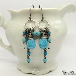 kolczyki,turkus,otulone,akwamaryn,błękitne,srebro - Kolczyki - Biżuteria