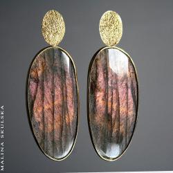 labradoryt,okazałe,unikatowe,niepowtarzalne - Kolczyki - Biżuteria