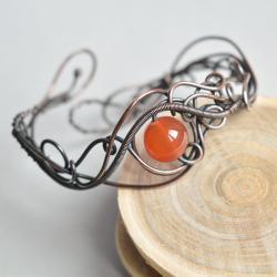 bransoletka,miedź,karneol,na prezent - Bransoletki - Biżuteria