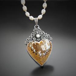 srebrny,naszyjnik,z jaspisem,serce - Naszyjniki - Biżuteria