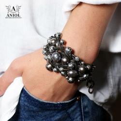 bransoleta z pereł i skóry,rzemień - Bransoletki - Biżuteria
