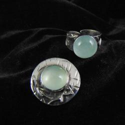 Komplet biżuteii srebrnej z akwamarynami - Komplety - Biżuteria