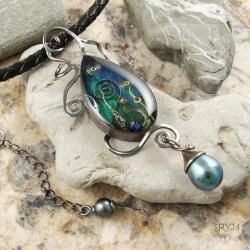 naszyjnik,morski,akwarium,perły,srebro, - Naszyjniki - Biżuteria