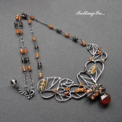 jesienny,naszyjnik,liście,subtelny,kobiecy, - Naszyjniki - Biżuteria