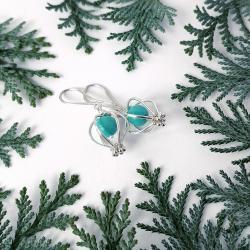 lekkie kolczyki z turkusami,wire wrapping alabama - Kolczyki - Biżuteria