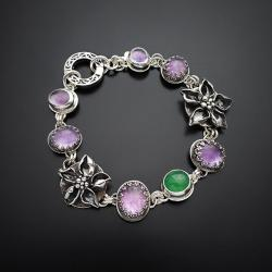 srebrna,bransoletka,z kwiatami i ametystem - Bransoletki - Biżuteria