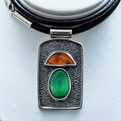 prezent dla grzybiarza srebrny naszyjnik z grzybem - Naszyjniki - Biżuteria