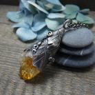 Naszyjniki srebrny,natura,liść dębu,organiczny,srebrny liść
