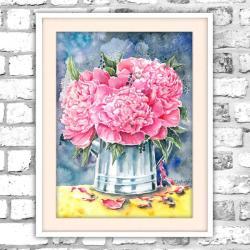piwonia,akwarela,kwiaty,obraz,martwa natura - Obrazy - Wyposażenie wnętrz