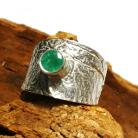 Pierścionki szmaragd,srebro,srebrny,surowy,zieleń,szlachetny