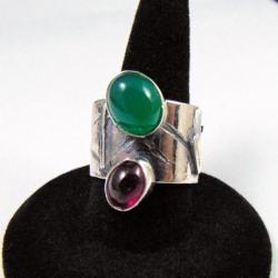 Obrączka srebrna z turmalinem - Pierścionki - Biżuteria