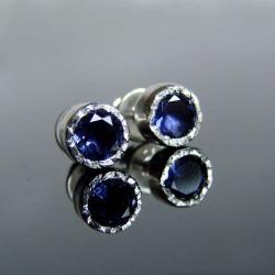 iolit,kolczyki,srebro,sztyfty - Kolczyki - Biżuteria
