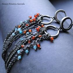 srebro,agat,chalcedon,długie,oksydowane - Kolczyki - Biżuteria