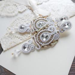 ślubne kolczyki,kolczyki soutache,białe kolczyki - Kolczyki - Biżuteria