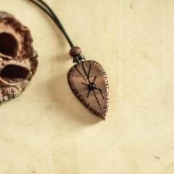 drewniany wisiorek z ametystem,wisior - Wisiory - Biżuteria