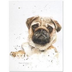 mops,akwarela,pies,malarstwo,sztuka,obraz,wnętrze - Obrazy - Wyposażenie wnętrz