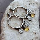 Kolczyki cytryn,duże,boho,koła,srebrne