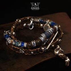 bransoleta skórzana z czaszką,lapis lazuli - Dla mężczyzn - Biżuteria
