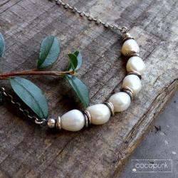 choker,nowoczesny,srebro oksydowane,krótki - Naszyjniki - Biżuteria