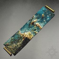 kosmiczna,kosmos,hubble,szeroka,wyplatana,turkusow - Bransoletki - Biżuteria