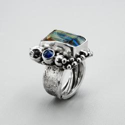 srebrny pierścionek z boulder opalem - Pierścionki - Biżuteria