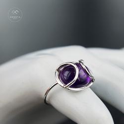 omerta_jewelry,ametyst,srebro,pierścionek,kabo - Pierścionki - Biżuteria