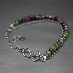 rubin,zoizyt,bransoletka,nieskończoność,kamień - Bransoletki - Biżuteria