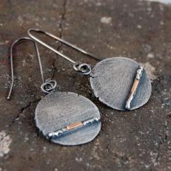 kolczyki ze srebra i złota - Kolczyki - Biżuteria