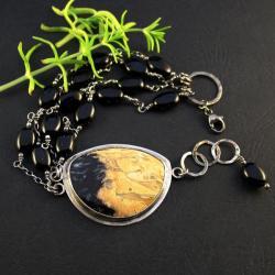 srebrna bransoletka z fossilem - Bransoletki - Biżuteria