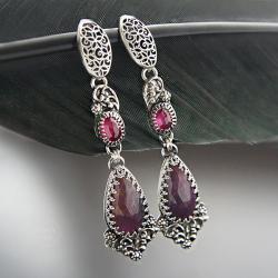 srebrne,długie,kolczyki,z rubinem i szafirem - Kolczyki - Biżuteria